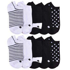 kate spade low cut socks pack of 10 black & white